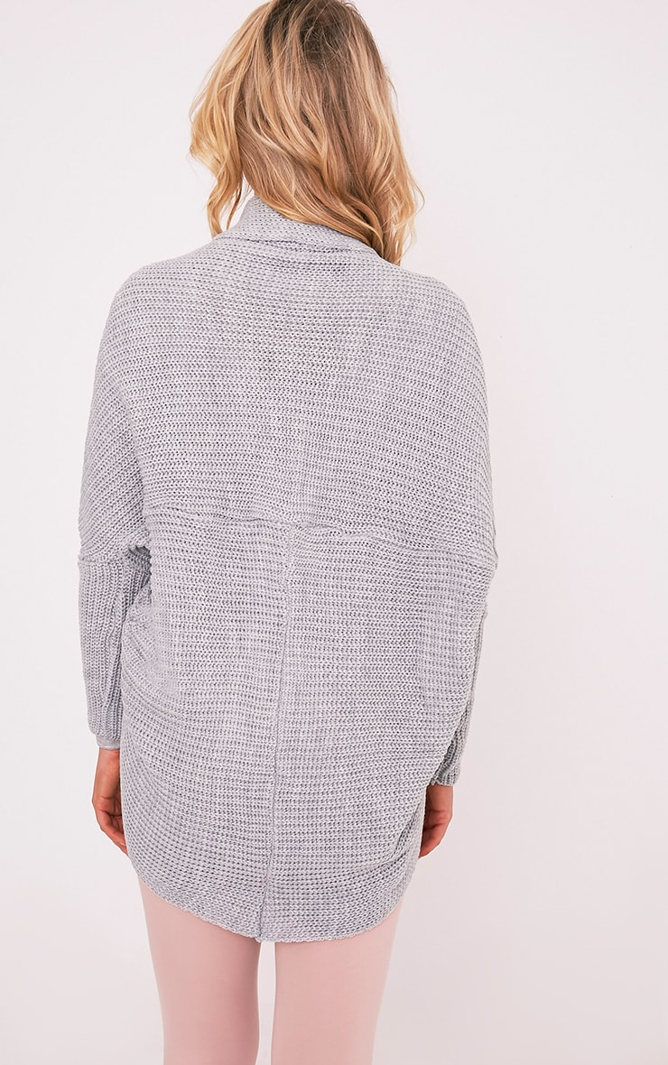Kaylae Grey Fisherman Knit Cocoon Cardigan 2