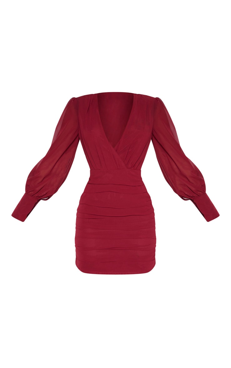 Burgundy Long Sleeve Chiffon Ruched Bodycon Dress 3