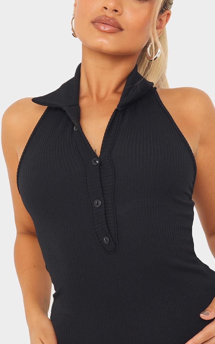 Petite Black Rib Halterneck Button Detail Bodycon Dress 4