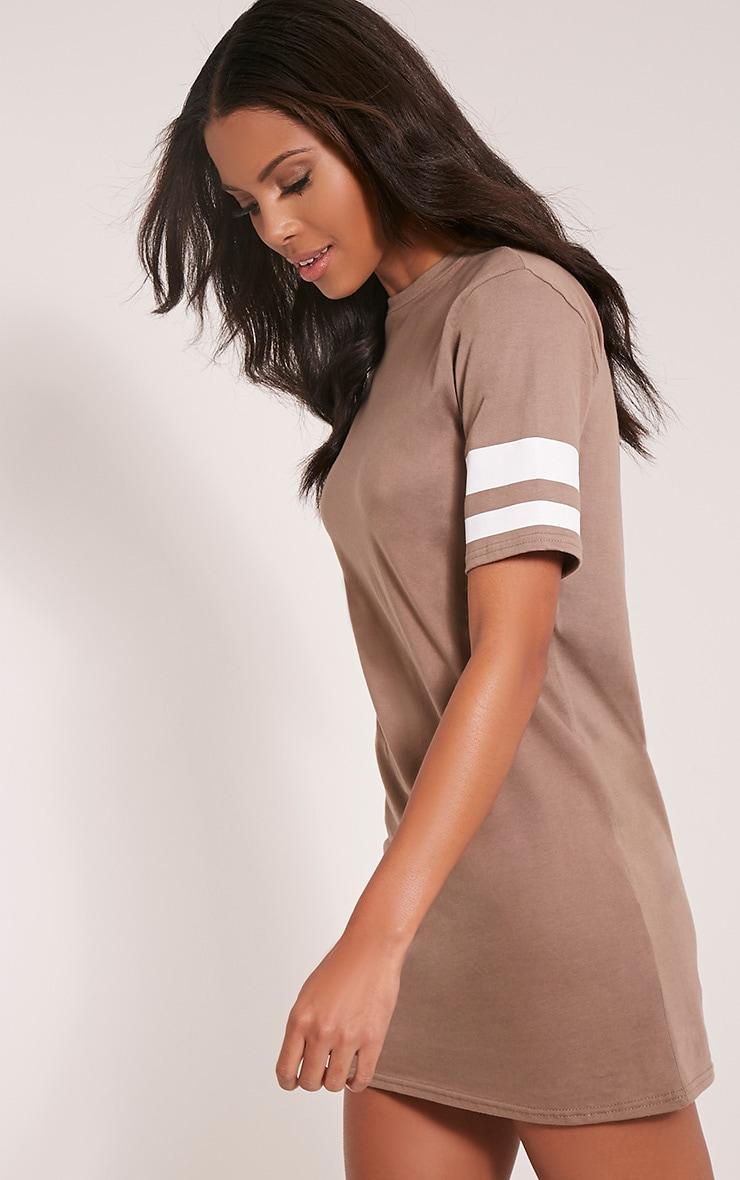Taylia Taupe Stripe Sleeve T Shirt Dress 4