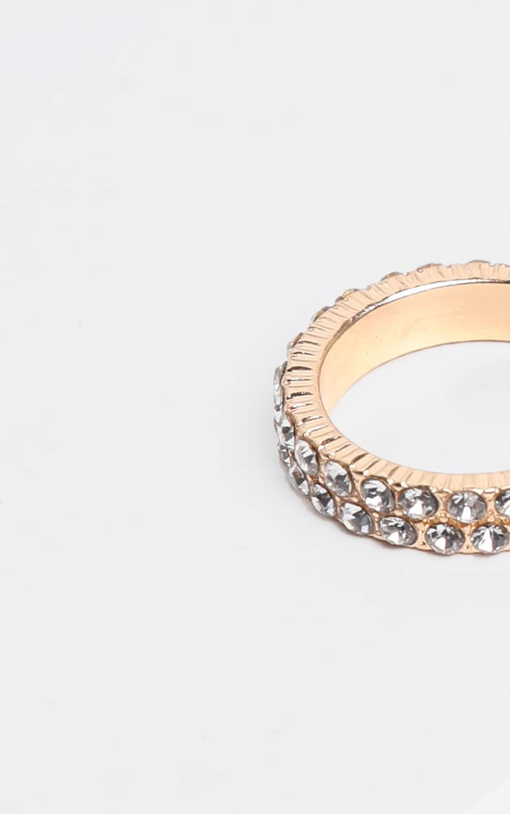 Gold Double Row Diamante Ring 3