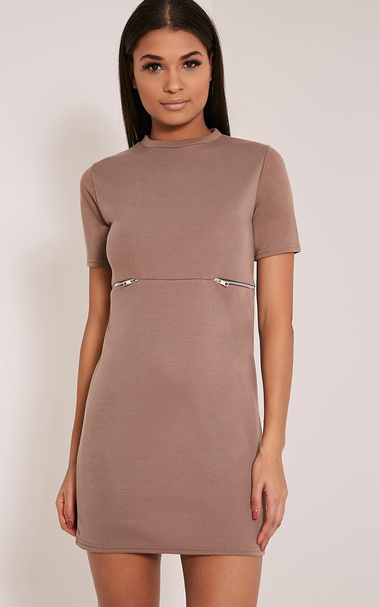 Kendie Taupe Zip Detail T Shirt Dress 1
