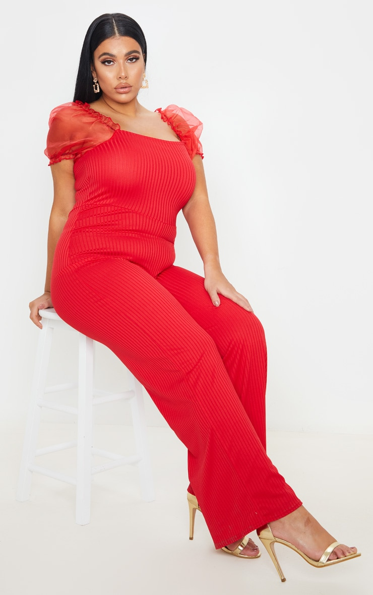 Plus Red Organza Sleeve Wide Leg Jumpsuit 4