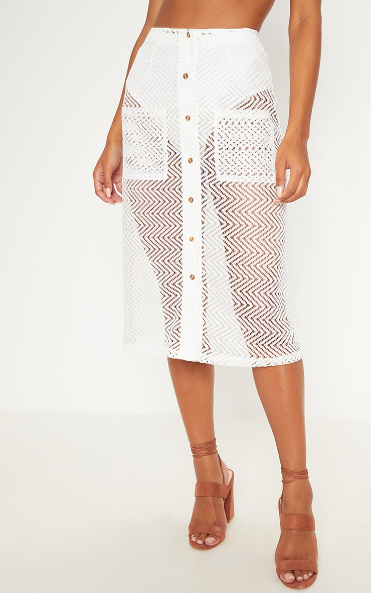 White Crochet Button Front Midi Skirt 2