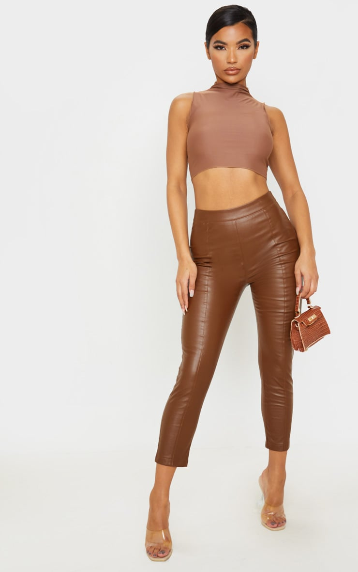 Chocolate Daysha Cropped Faux Leather Trousers 1