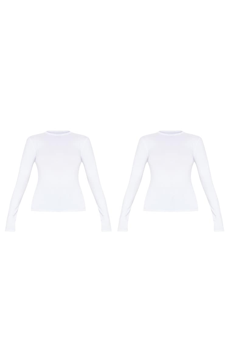 White Basic 2 Pack Long Sleeve Fitted T Shirt 3