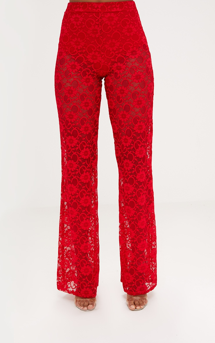 Red Lace Wide Leg Trouser  2