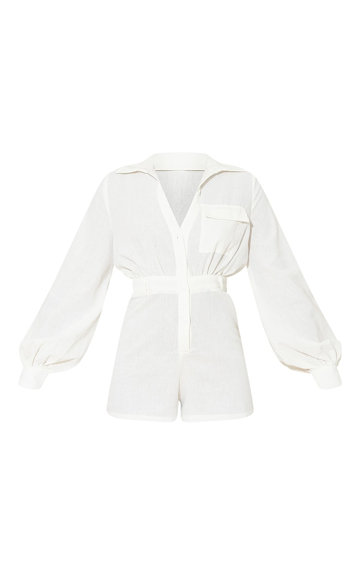 Cream Linen Look Shirt Playsuit 5