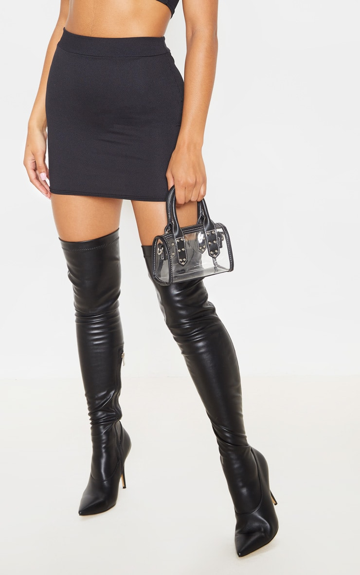 Black Rib Bodycon Mini Skirt 6