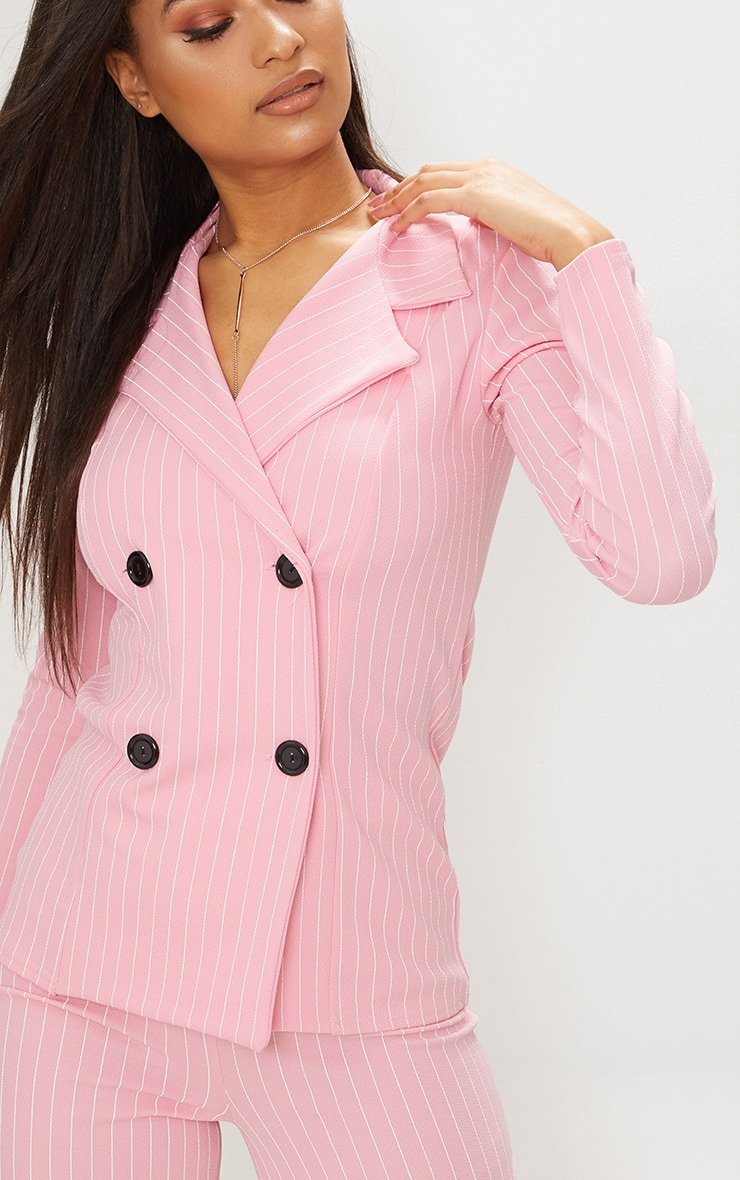 Pink Pinstripe Double Breasted Blazer 4
