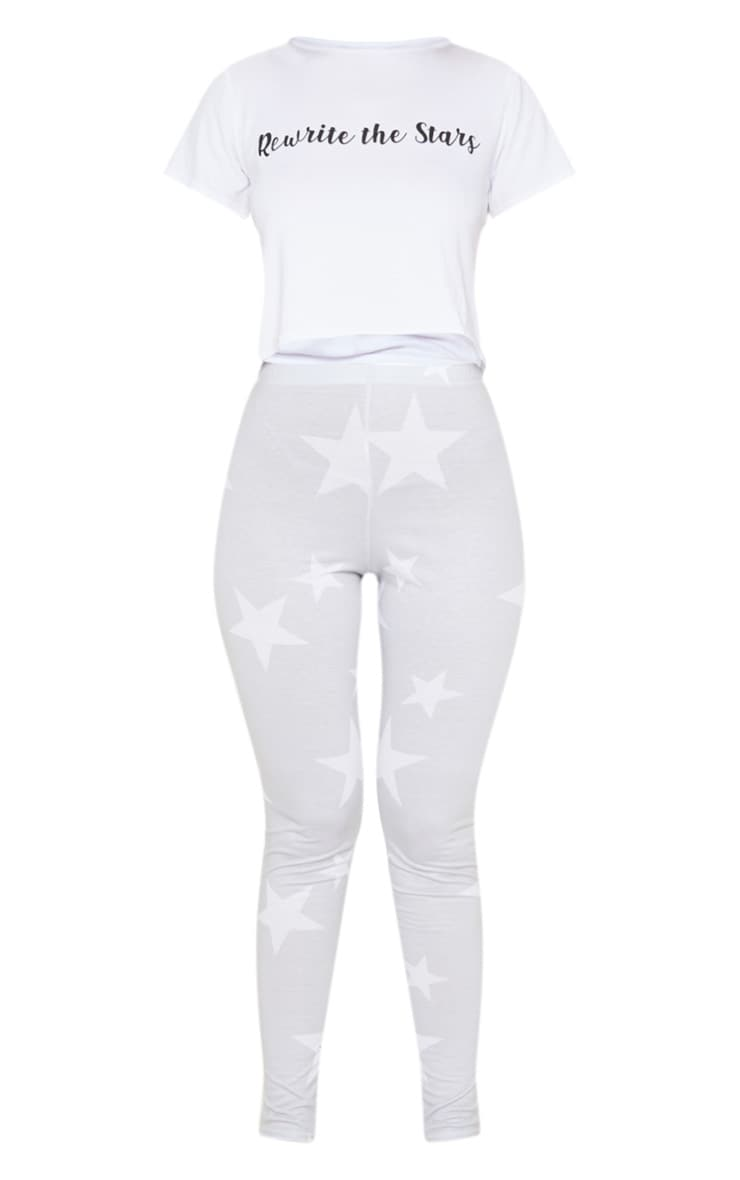 Ensemble de pyjama gris à legging à étoiles et top slogan Rewrite The Stars 3