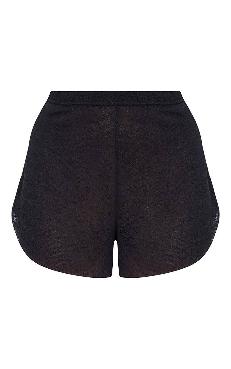 Black Lightweight Knit Shorts 3