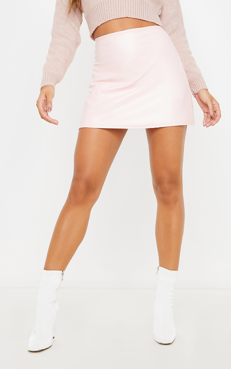 Rose Pink Faux Leather A Line Skirt 2