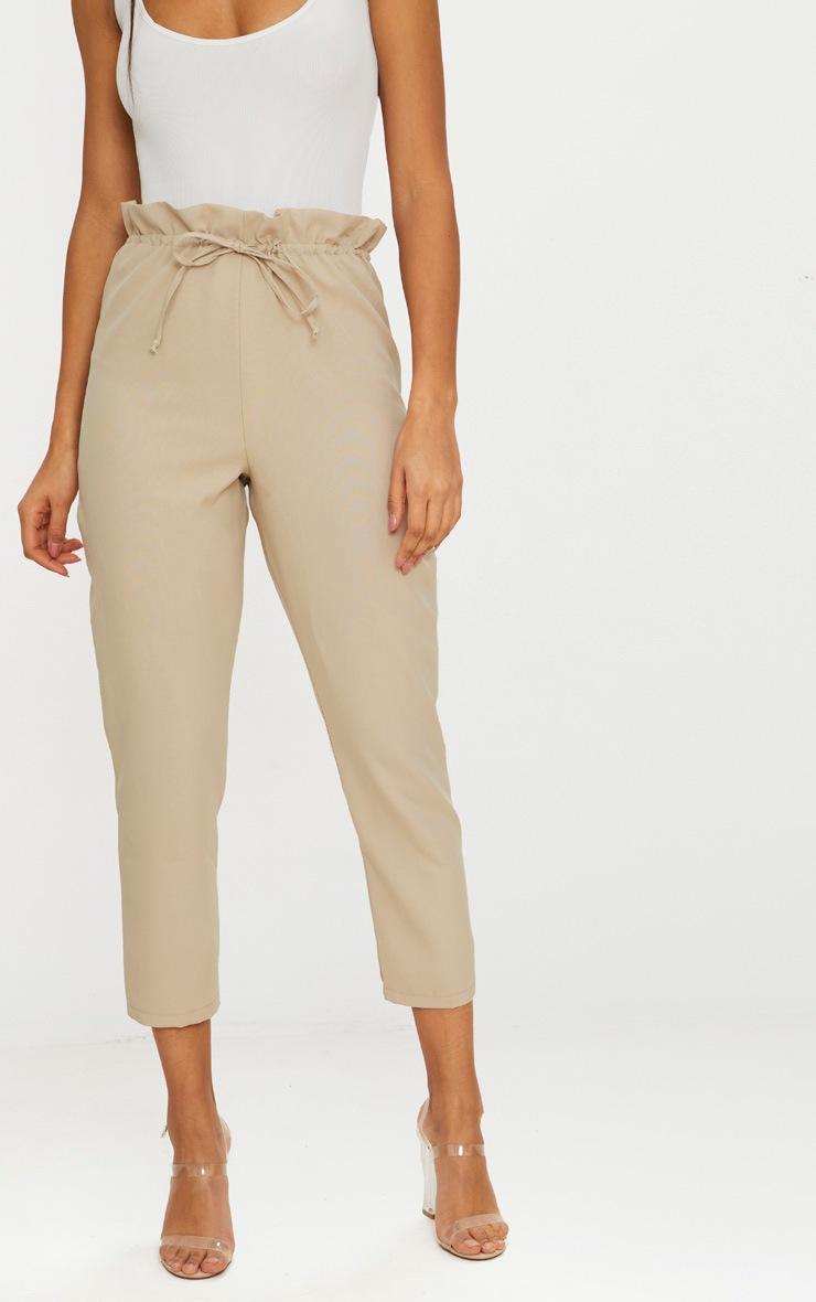 Stone Woven Paperbag Slim Leg Trousers 2