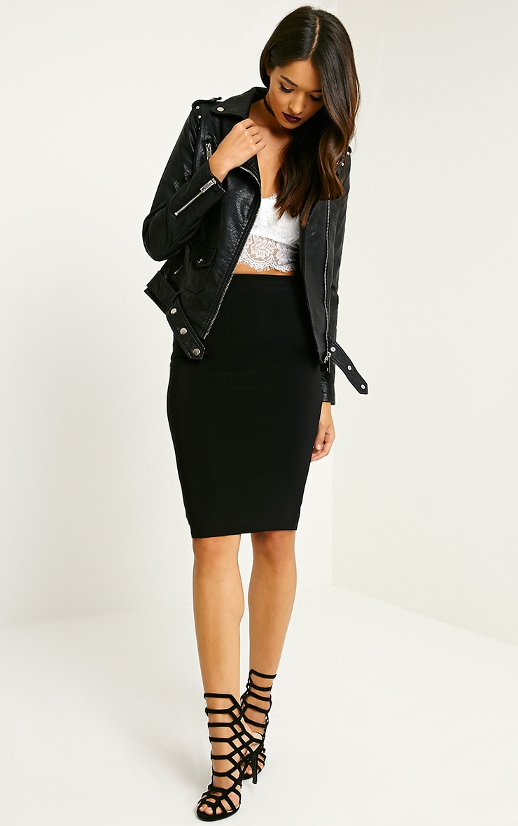 Jacklin Black Faux Leather Biker Jacket 4