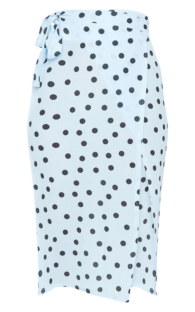 Blue Wrap Around Polka Dot Midi Skirt 5