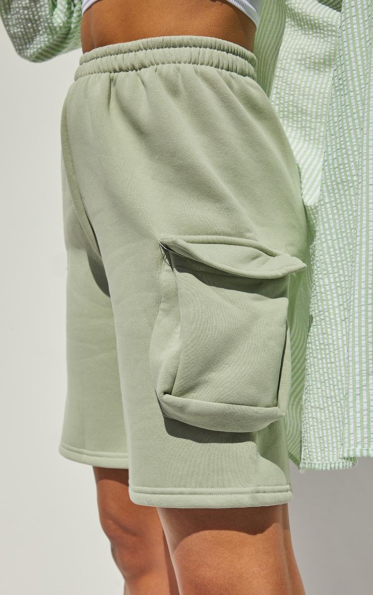 Sage Pocket Detail Longline Sweat Shorts 5