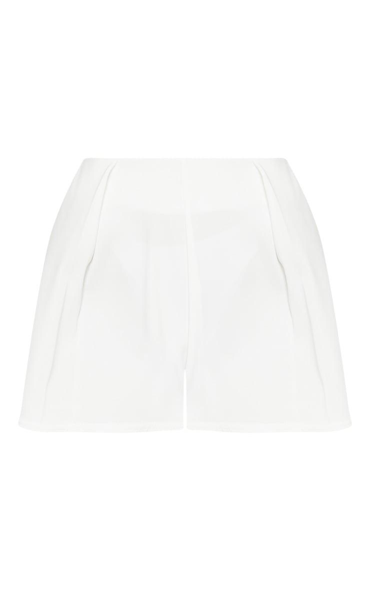 White Pleat Front Satin Short 3