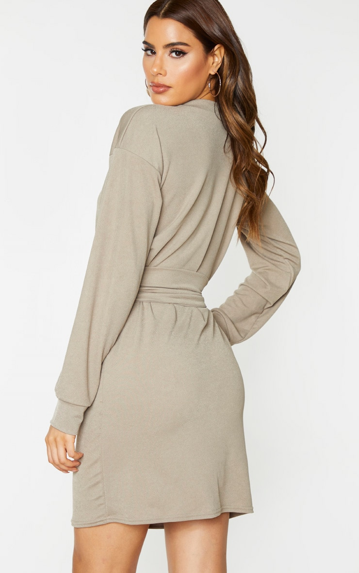Tall Stone Corset Detail Crepe Oversized Sweater Dress 2