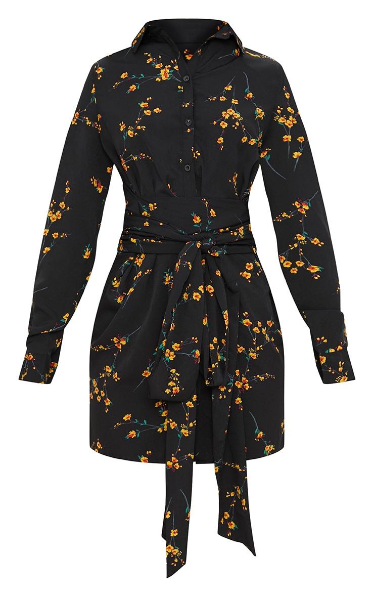 Black Floral Tie Waist Shirt Dress 3
