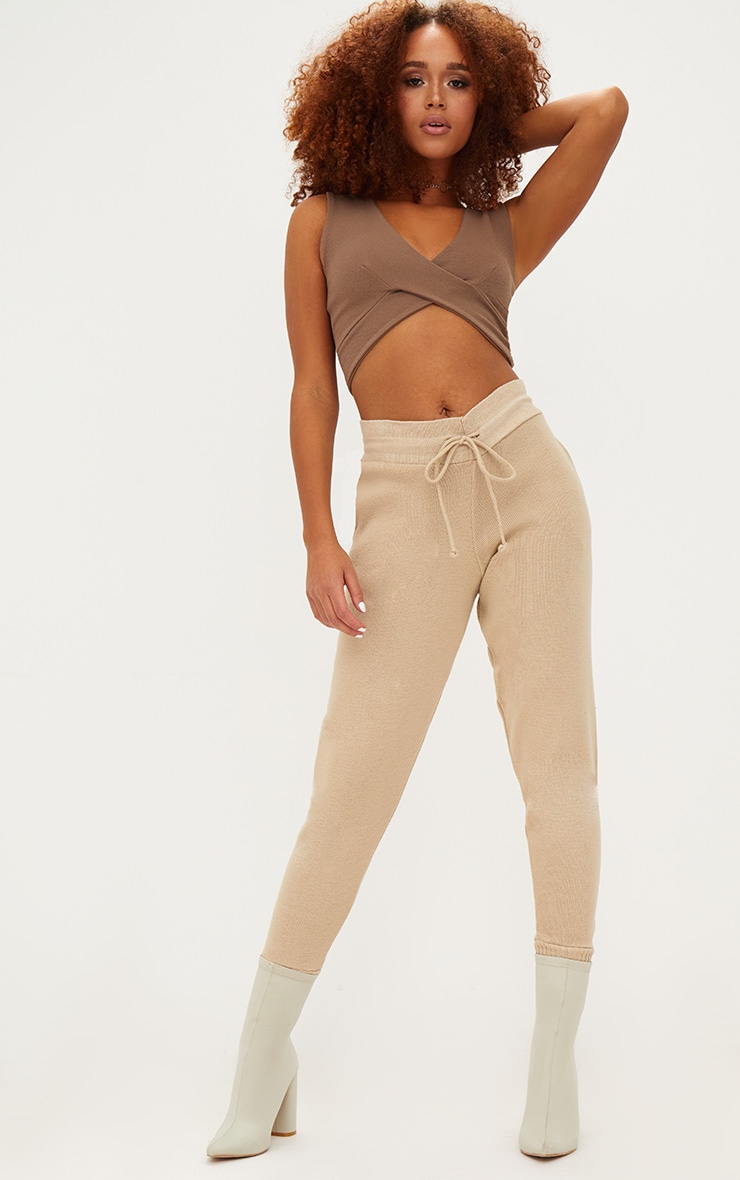 Stone Crepe Cross Front Sleeveless Crop Top 4
