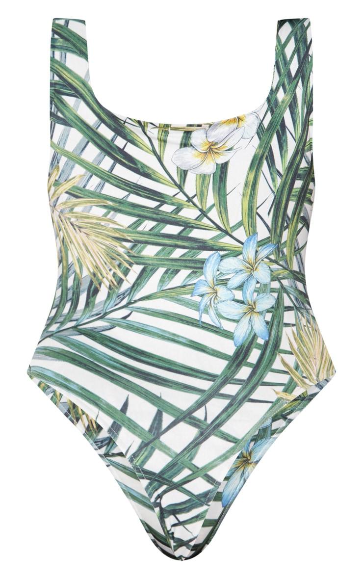 Plus White Tropical Print Slinky Square Neck Thong Bodysuit 4