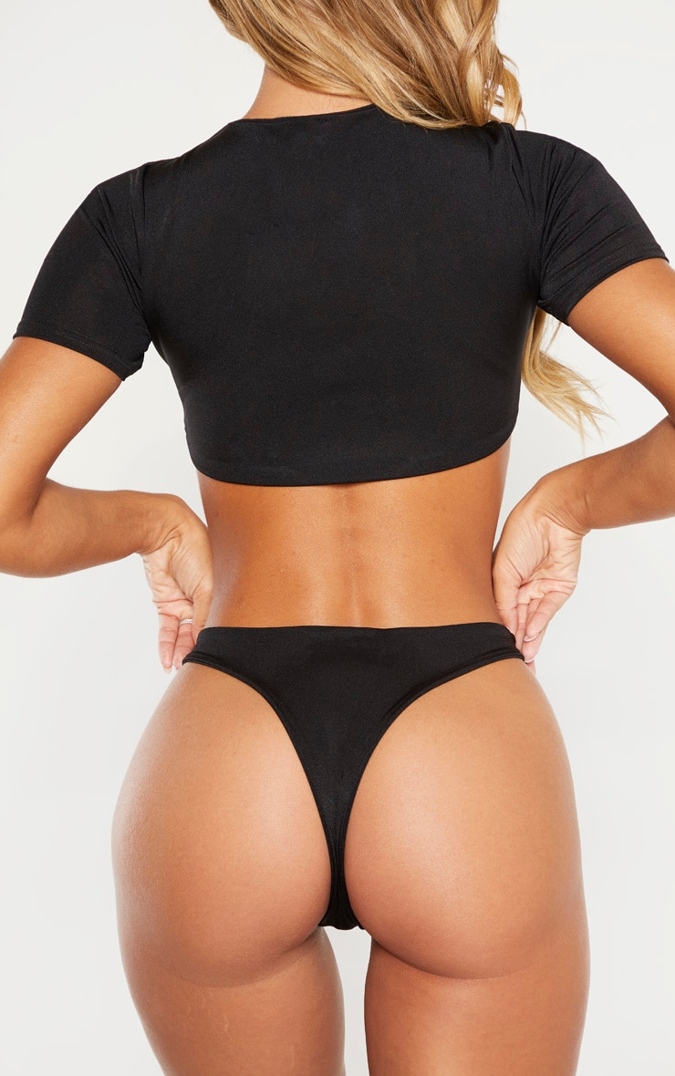 Black High Rise Bikini Bottom 3