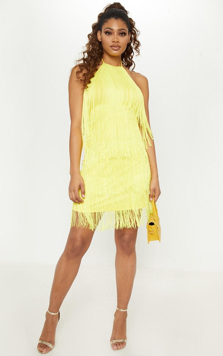 Tall Yellow Fringe Detail Halterneck Dress 1
