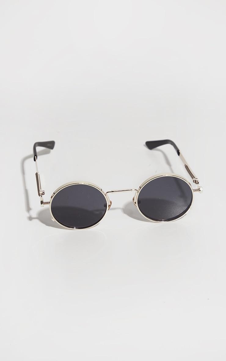 Gold Frame Round Sunglasses 3