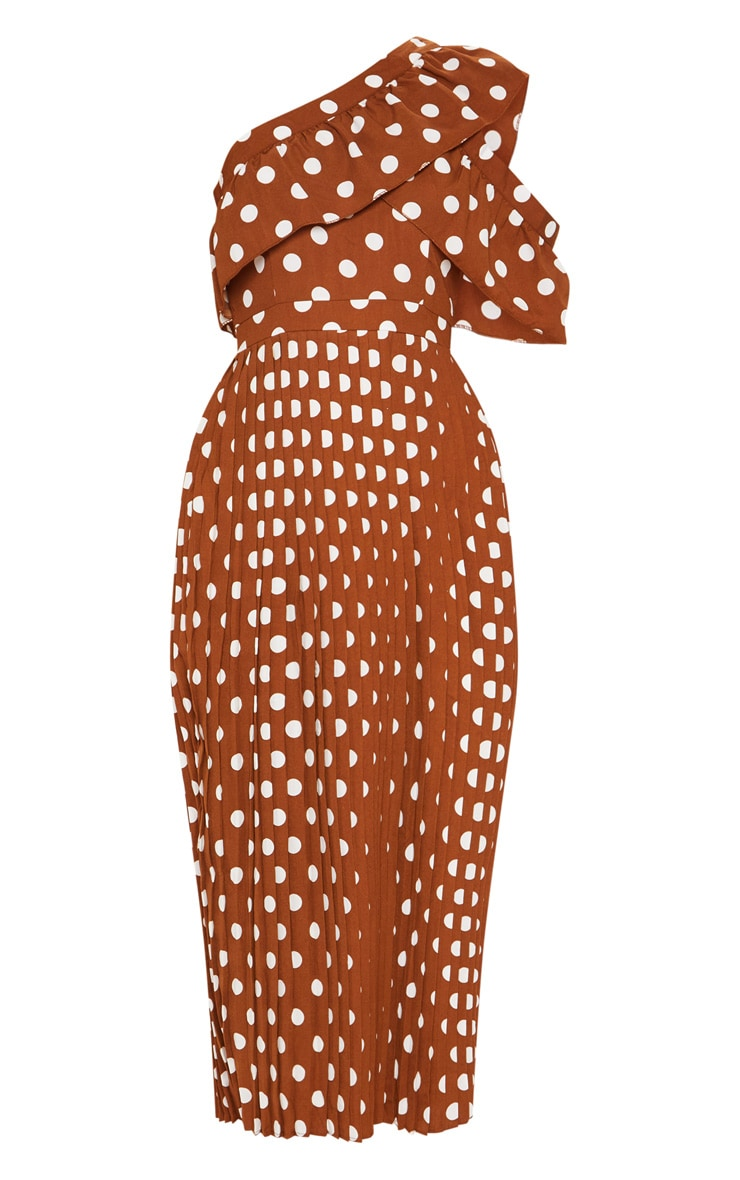 Chocolate Polka Dot One Shoulder Ruffle Detail Pleated Midi Dress 3