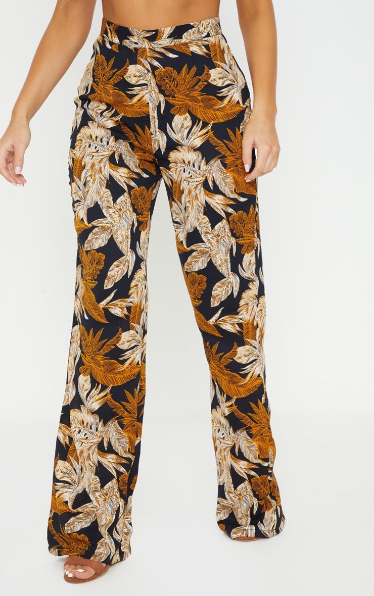 Black Palm Leaf Print Beach Flares 2