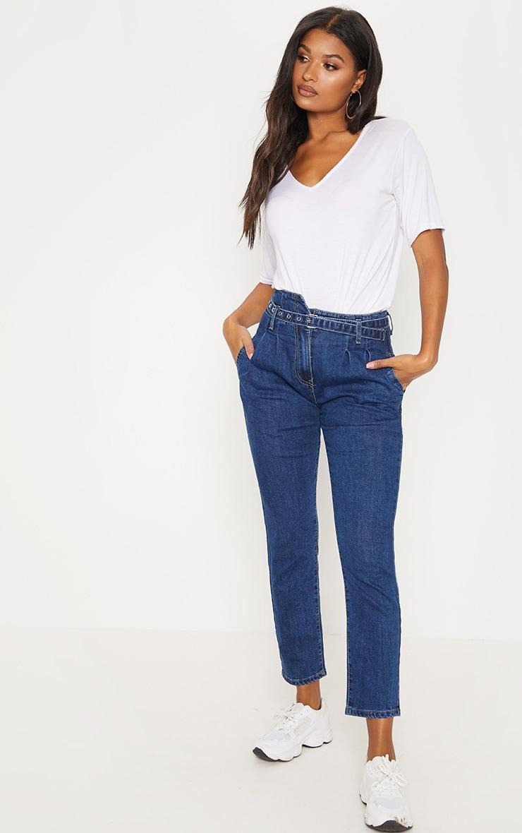 Dark Wash Belted Paperbag Jeans