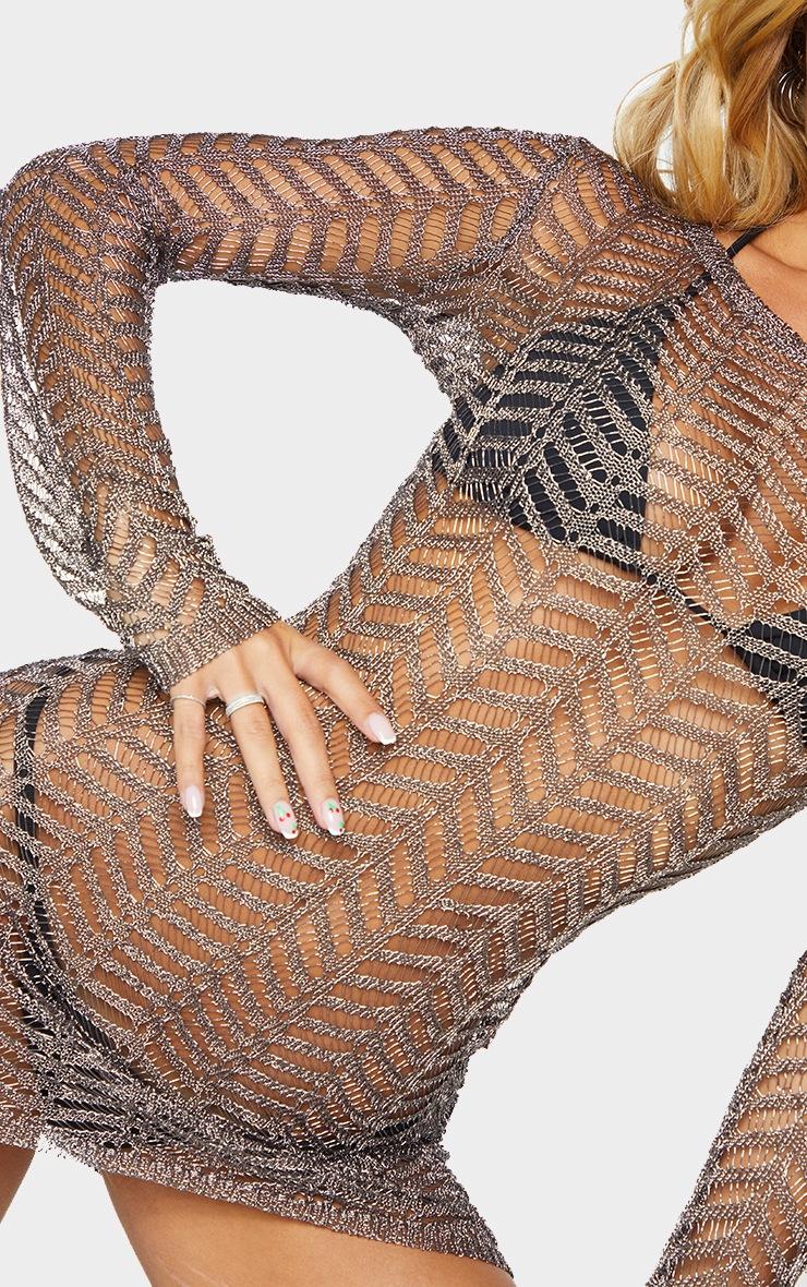 Gunmetal Metallic Chevron Knitted Crochet Dress 4
