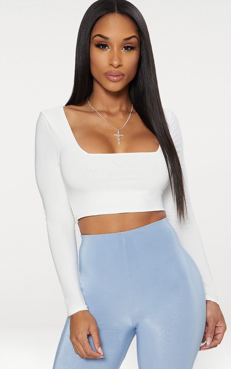 White Second Skin Square Neck Long Sleeve Crop Top  1