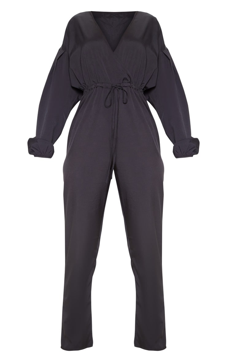Black Wrap Long Sleeve Woven Jumpsuit 3