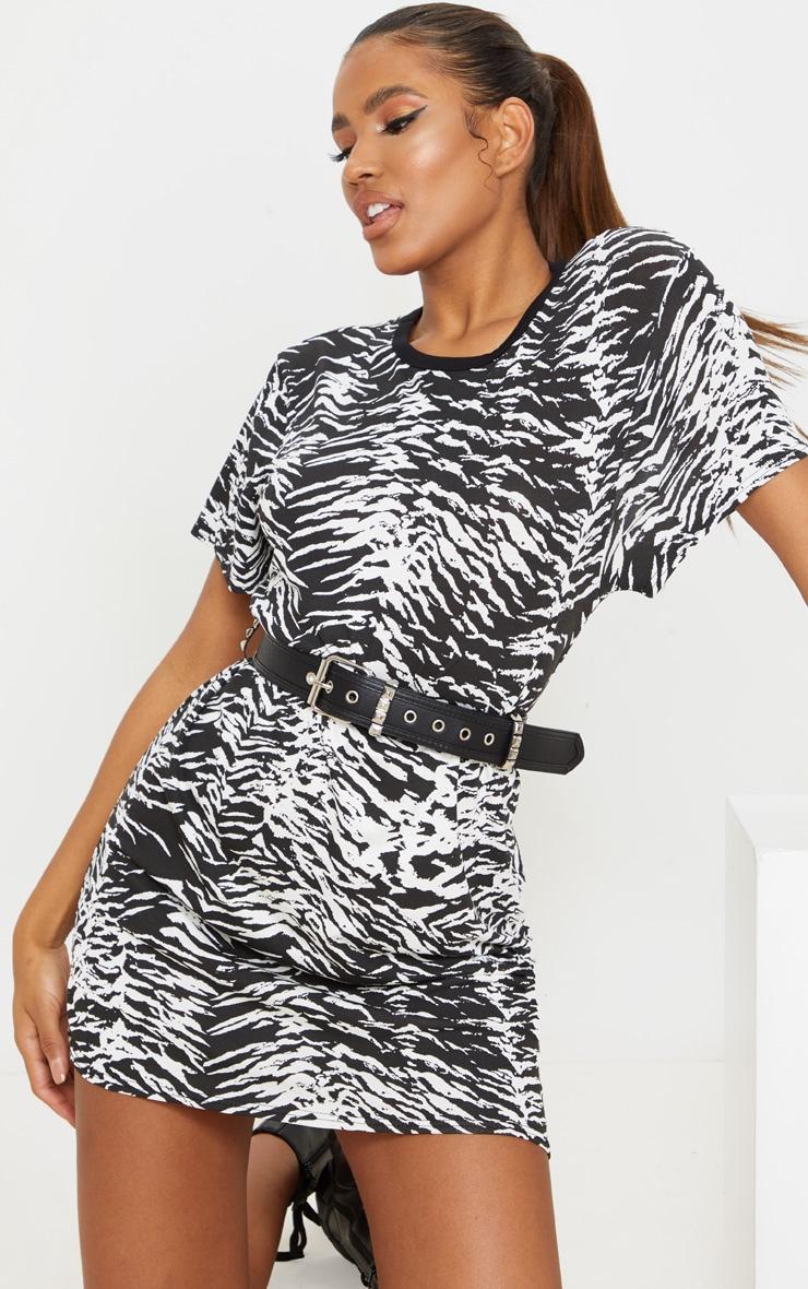 Recycled Black Zebra T Shirt Dress 1