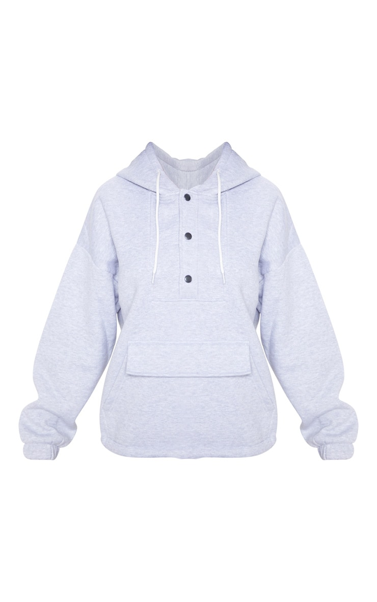 Grey Pocket Button Front Oversized Hoodie 3