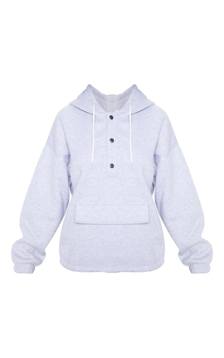 Hoodie oversize gris à poche et boutons devant 3