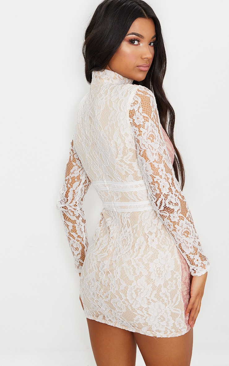 White High Neck Long Sleeve Contrast Lace Bodycon Dress 2