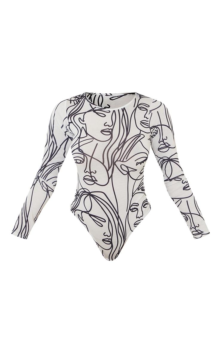 White Abstract Face Print Basic Crew Neck Long Sleeve Bodysuit 5