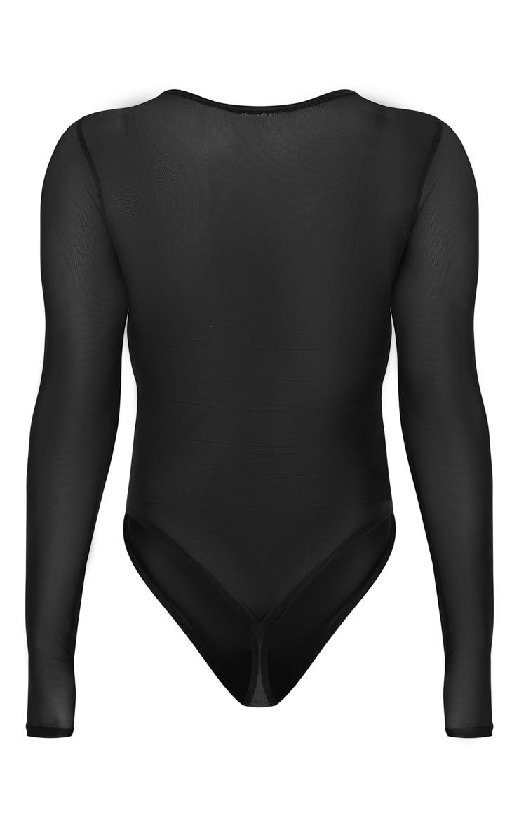 Black Mesh Binding Detail High Neck Bodysuit 4