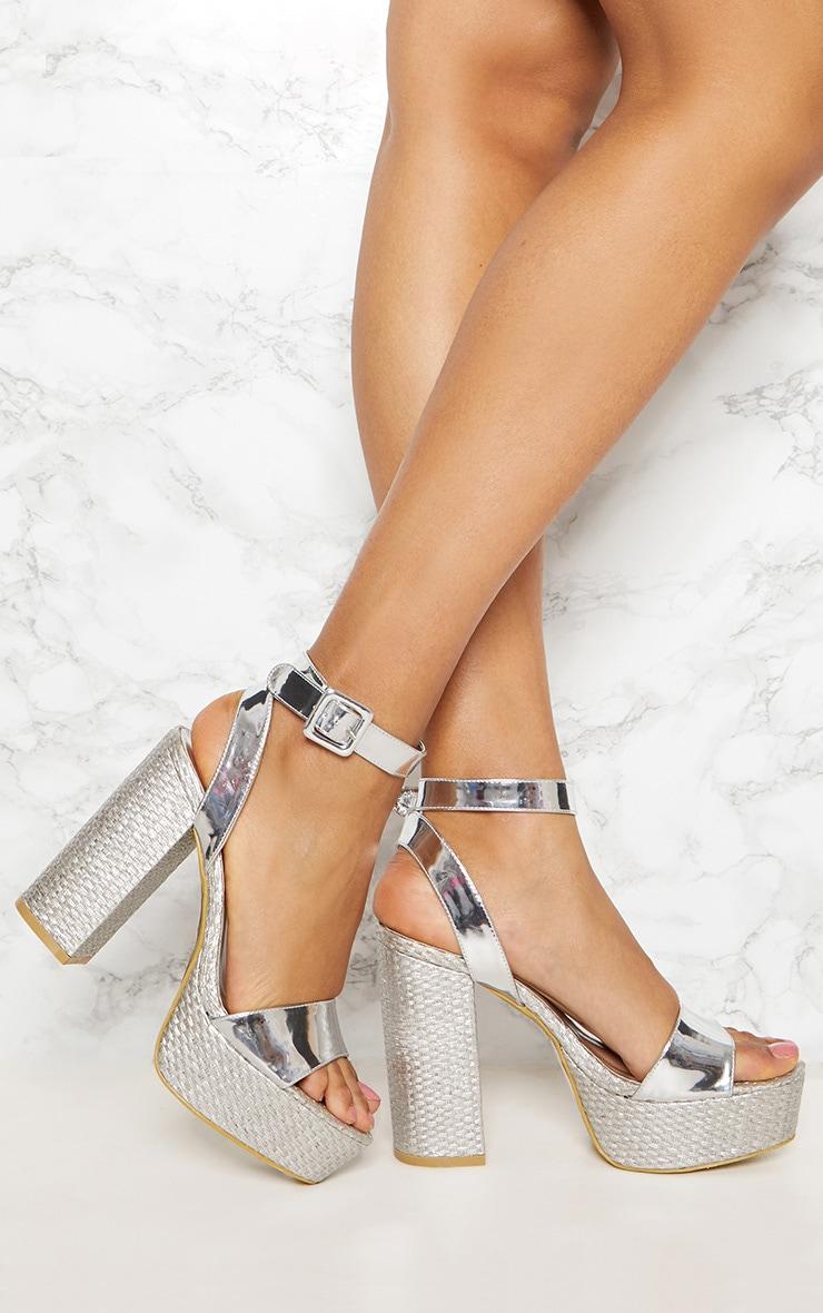 Silver Double Platform Espadrille Sandal 1