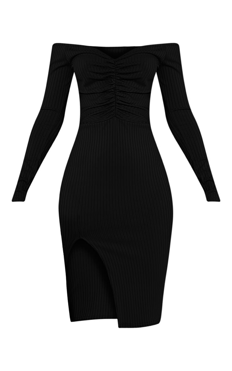 Deelia robe midi côtelée devant froncée noire 3
