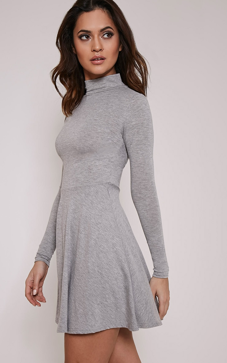 Basic Grey Marl High Neck Skater Dress 4