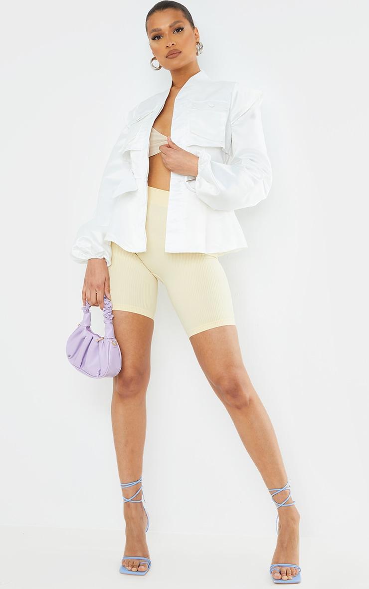 White Satin Pocket Shoulder Detail Blazer 1