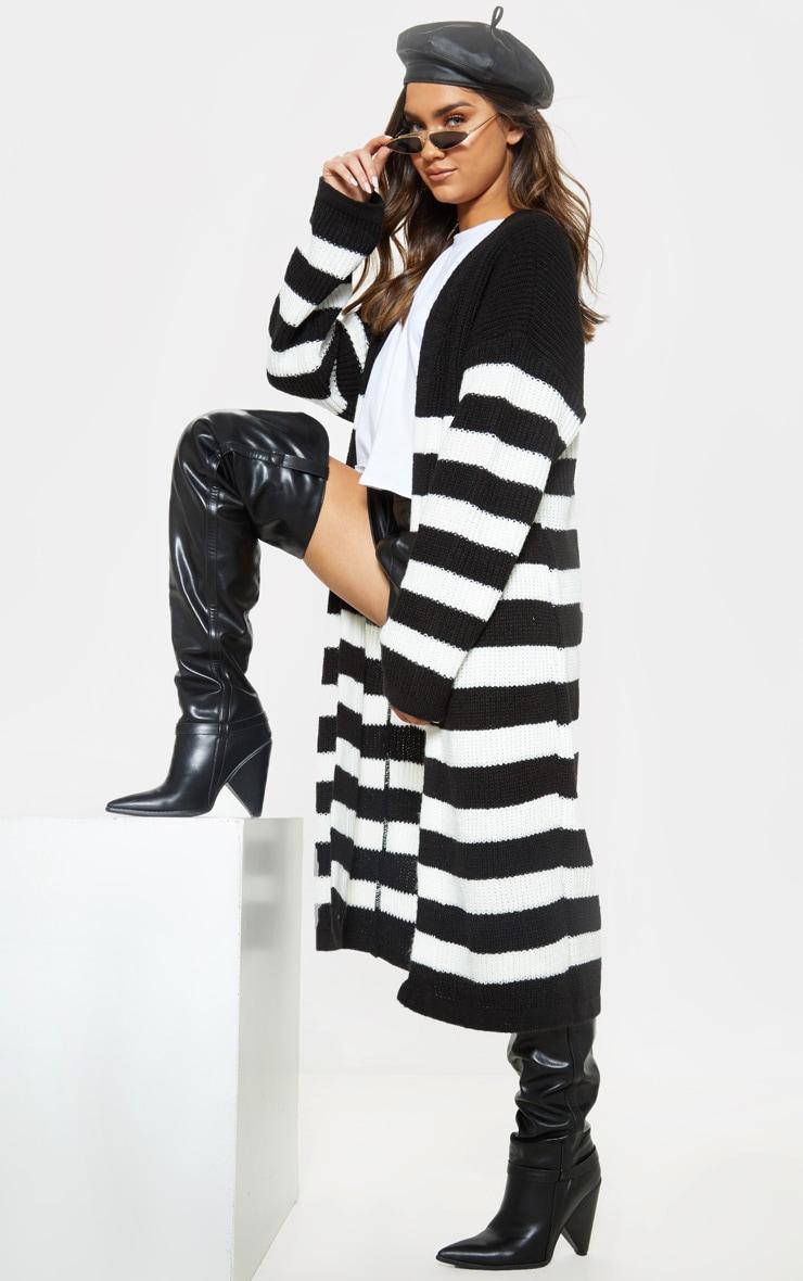 Black Stripe Detail Knitted Maxi Cardigan  4