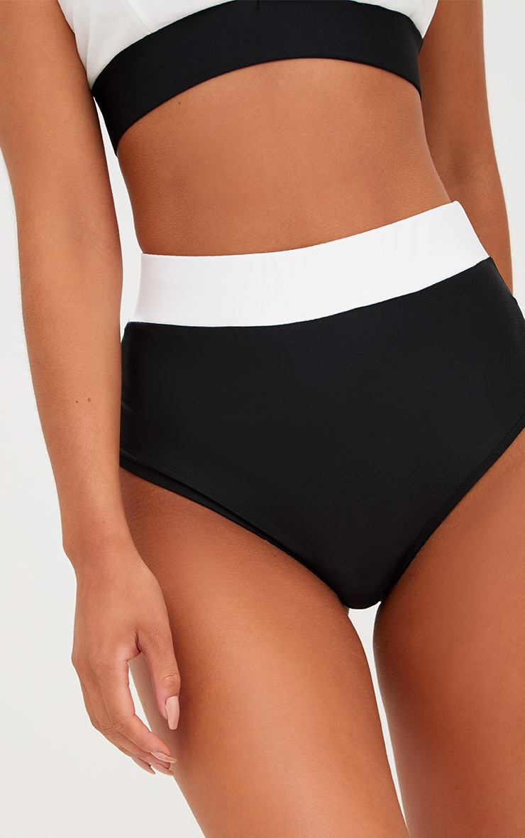 Black Contrast High Waisted Bikini Bottoms 6