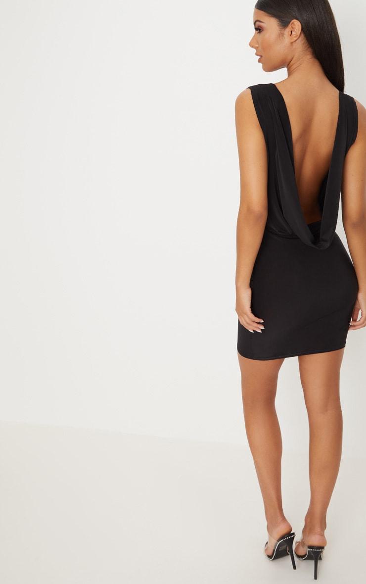 Black Slinky Extreme Cowl Front & Back Sleeveless Bodycon Dress 4