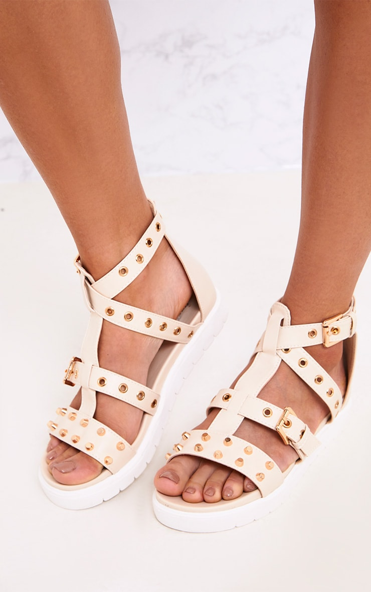 Clarice Nude Studded Gladiator Sandals 2