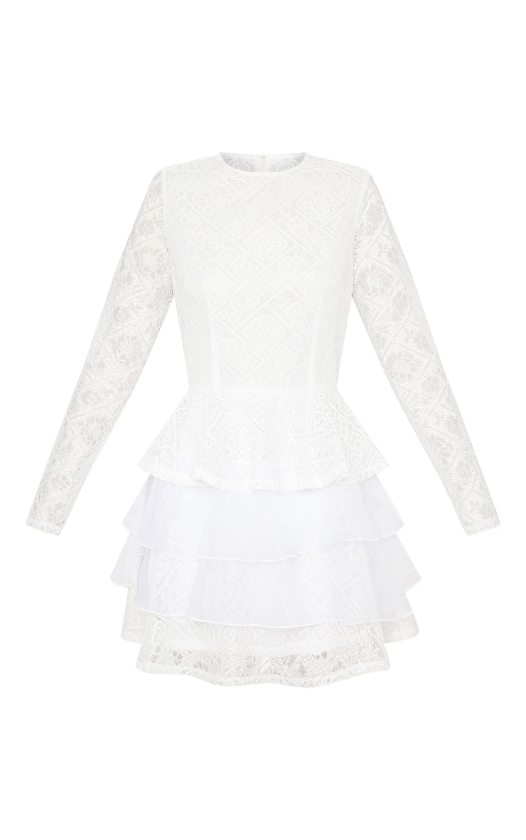 White Lace Long Sleeve Tiered Skater Dress 3